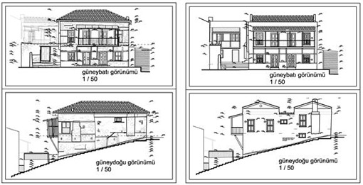 Description: Fig_05_Drawings for southeast and southwest facades, survey on the left, restoration on the right.jpg